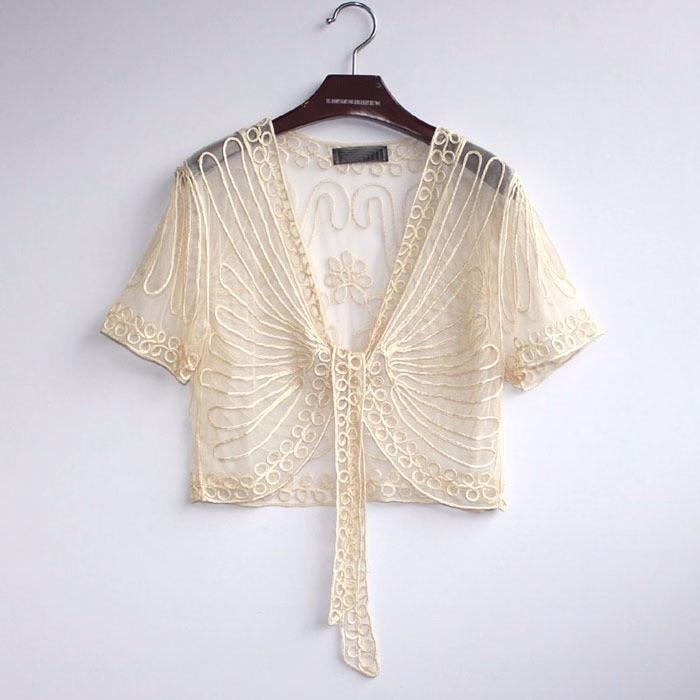 Ladies tops Fashion Women's Clothing Wild Perspective Small Shawl Chiffon Lace Lacing Boleros shirts tops 802E 30