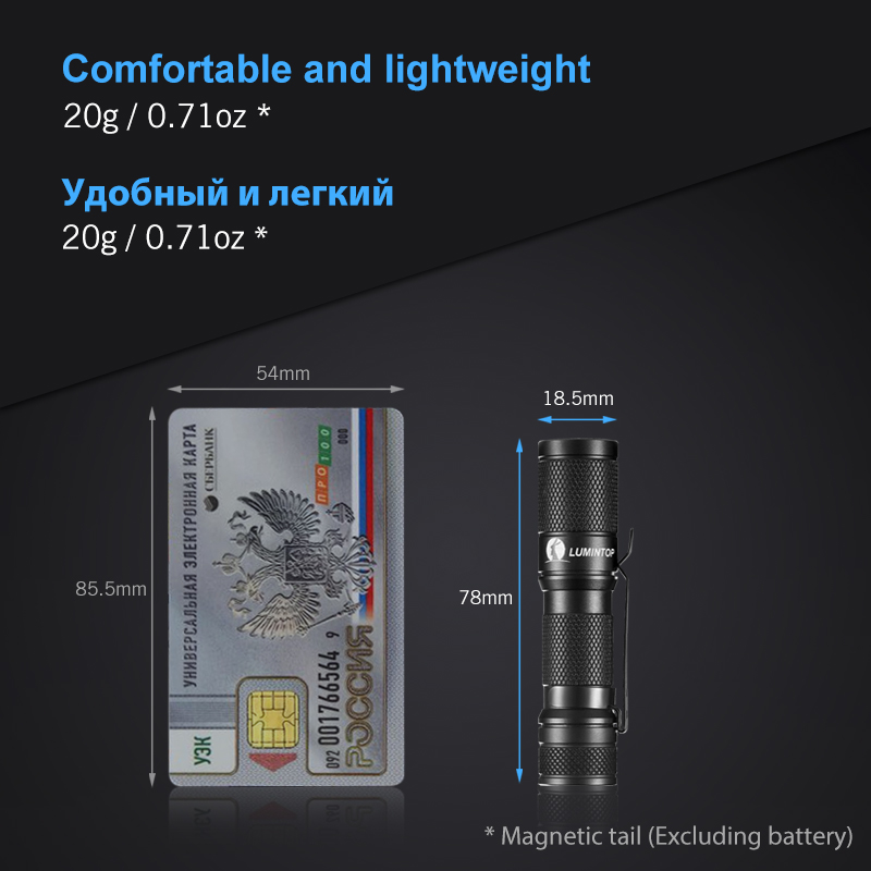 Image 2 - LUMINTOP EDC Mini Flashlight Tool AA 2.0  4  Outputs with Memory with Strobe  Max 127meters  Distance Max 650 Lumens for camping-in LED Flashlights from Lights & Lighting