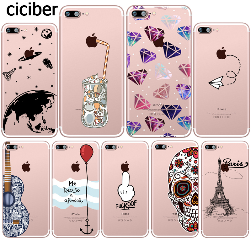 Funny Cat Middle Finger Space Diamond Paris Tower Silicone Soft Clear TPU Capinha for iphone 7 8 6 6S PLUS X SE 5S 5 Case Fundas
