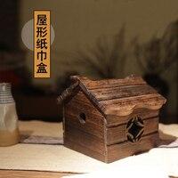 Wood Tissue Box Creative decorative tissue box burn Paulownia house shaped tissue box Desktop storage box original