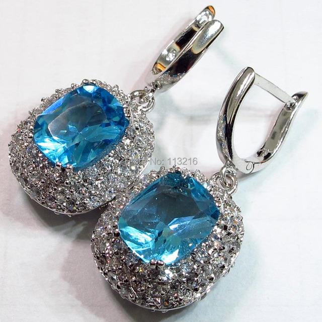 Hermosa Étnico Azul Cubic Zirconia pendiente de La Joyería ocasional Promoción Favorito Recomendar Pendientes de joyería de Plata R468