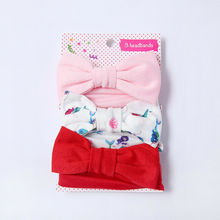 6 Styles 3Pcs Baby Girls Elastic Bowsknot Floral+Soild Color Sets Headbands Head wrap Newborn Lovely Hair Band Accessories