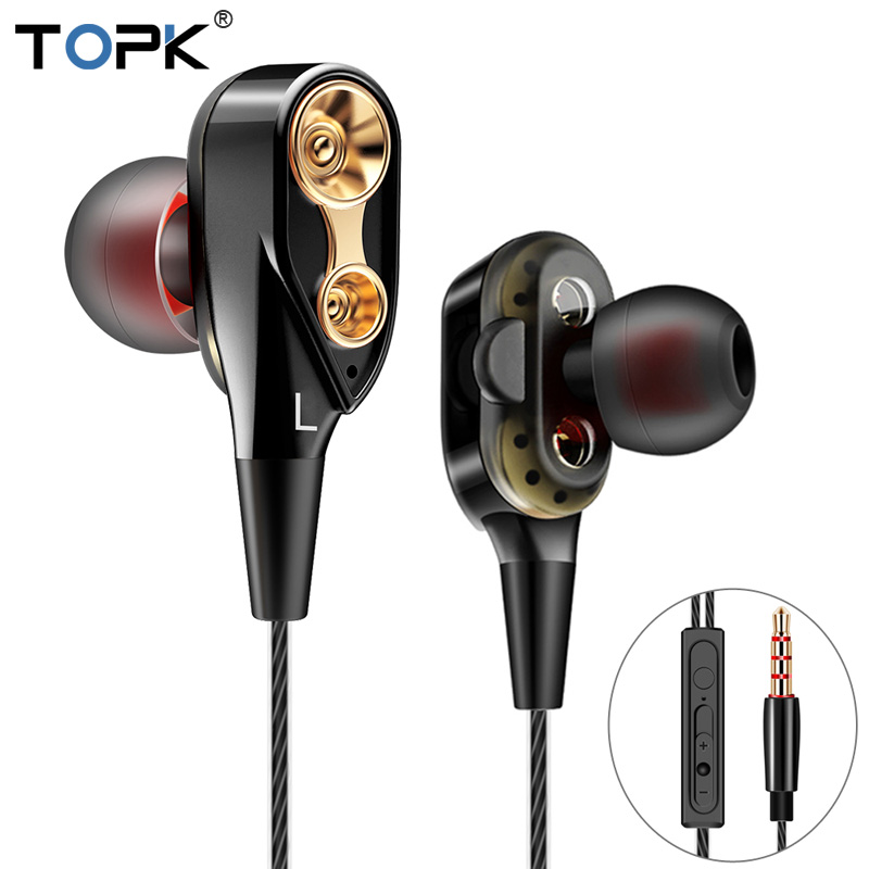 TOPK Wired Earphone For Phone Dual Driver HiFi Stereo In-Ear Headset 3.5mm Sport Running Earphones With Microphone Earbuds sport earphone metal in ear earphones headsets with microphone wired music super bass stereo earbuds for phone pc player gamer