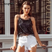 Simplee Sexy diepe v-hals riem vrouwen lace trim camis tops Avond party club vrouwen tops Dames sequin slim fit tank tops 2018(China)
