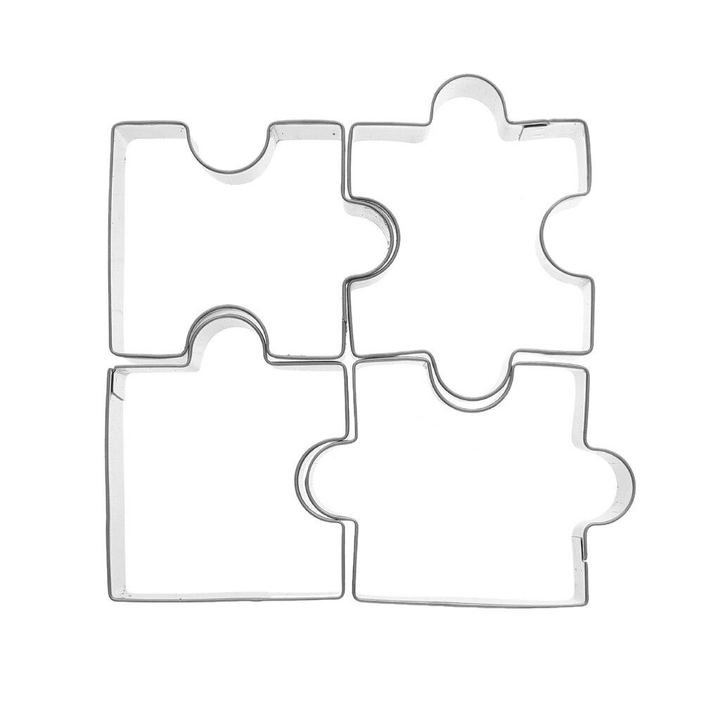 4 piezas rompecabezas de acero inoxidable Cookie Cutter marco molde ...