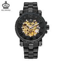 MG. Montre-bracelet homme ORKINA horloge squelette dorée montre-bracelet mécanique homme noir Relogio Masculino automatique Zegarek Meski