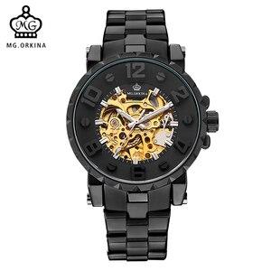 Image 1 - MG. ORKINA Men Wristwatch Golden Skeleton Clock Mechanical Male Wrist Watch Black Relogio Masculino Automatic Zegarek Meski