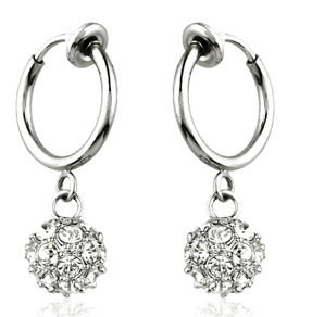Clip Invisible Ear Earrings Non Pierced Hoops Round Rhinestone Ball