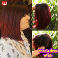 Short Hair Cut Bob Wig Cheap Fashion Ombre Synthetic Wig Natural Looking Skin Top Non Lace Wigs Burgundy Female Cosplay Wig