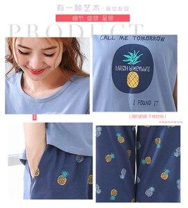 Image 5 - Big Size XXL 3XL 4XL 5XL Summer Pajamas Cotton Home Short Sleeve Women Sleepwear Thin Pyjama Women Pants Female Casual Lady Home