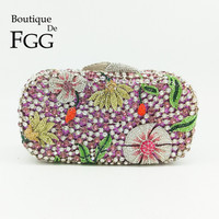 Have Stock Clearance Sale Women Crystal Clutch Evening Bag Bridal Flower Diamond Purse Wedding Party Prom