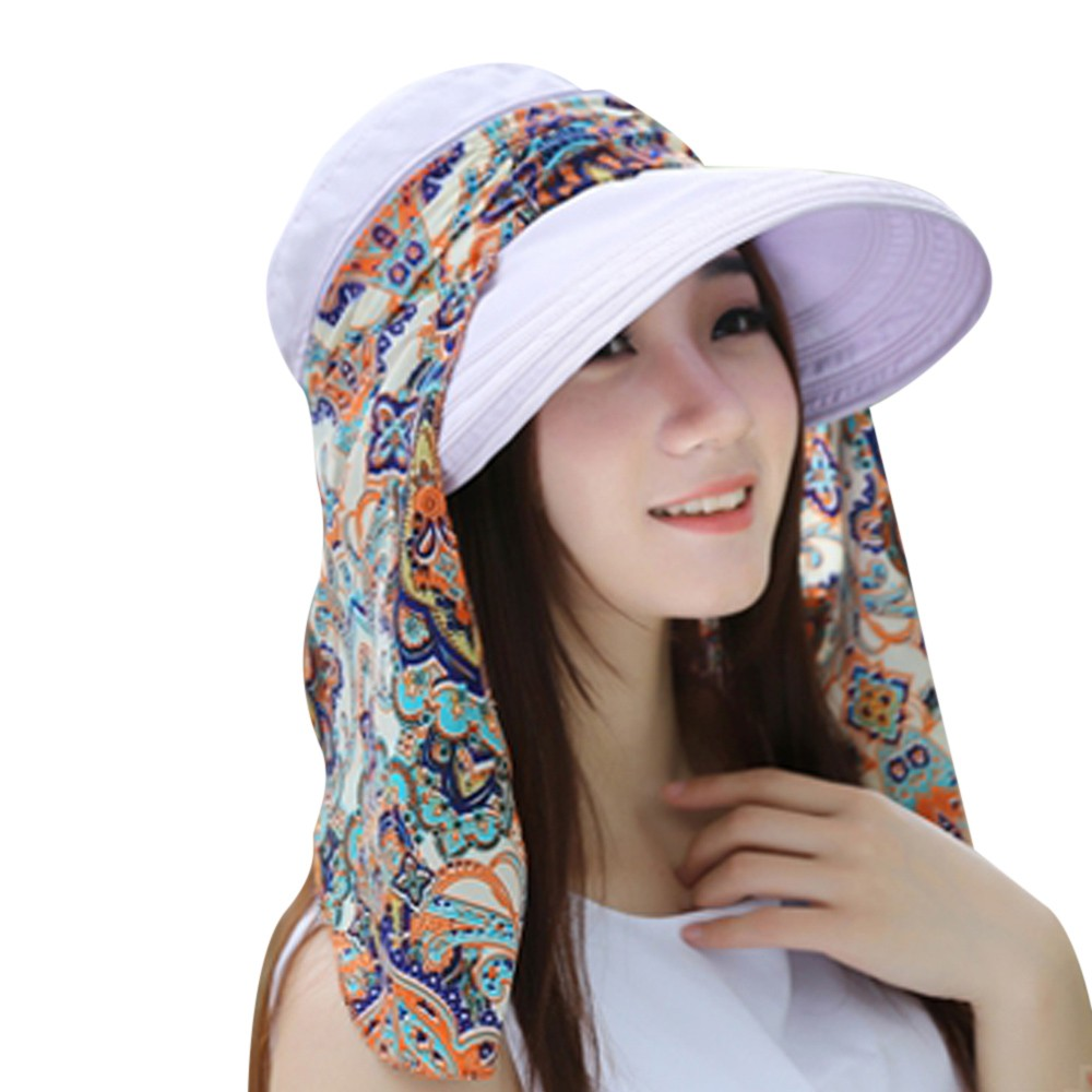 Womens Ladies Holiday Visor Hat Summer Sun Beach Foldable Roll Up Wide Brim Caps
