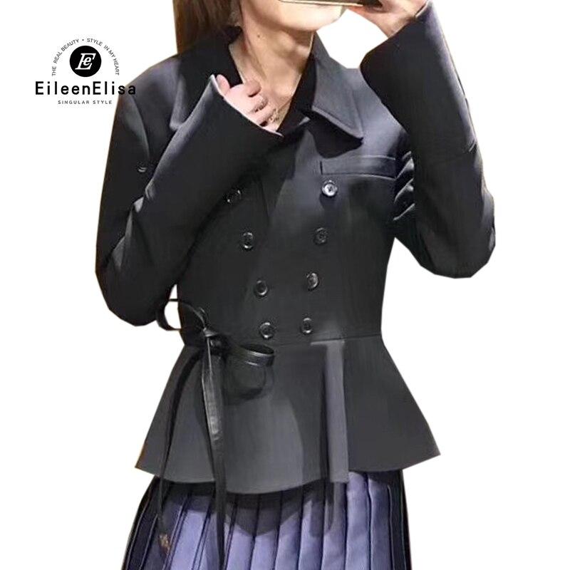 Double Mode Manteau Hiver Vestes Noir Boutonnage Manches À Pour Automne Longues Manteaux Femmes Veste De Lady Survêtement 2018 H6aOgxqn