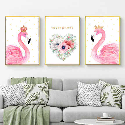 Nordic 5D Diy New Diamond Full Diamond Embroidery Triple Living Room Simple Modern Bedroom Fresh Flamingo Pink Drill
