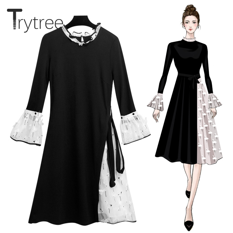 Trytree Autumn Swan Dress Women Casual Black White A-line Dress Butterfly Sleeve Shirt  Knee-Length Appliques Dress Swan Dress