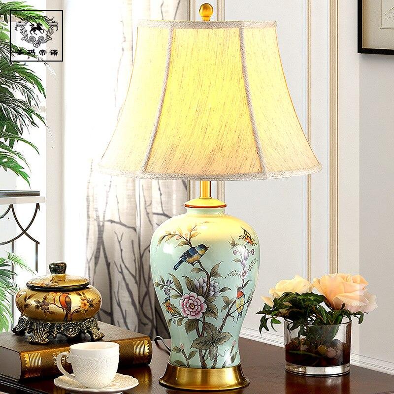 Chinese Ceramic Linen Lampshade Led E27