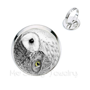 Drop Shipping Vintage Yinyang Owl Design Rings Animal Glass Dome Ring Jewelry Clothing Accessories