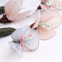 Newest 20PCs 48MM Handmade Chiffon Fabric Flower Pendant Charms Craft Fit Girls Hair Jewelry Ornament Accessories
