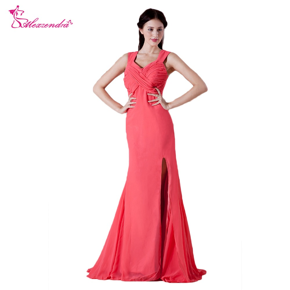Alexzendra Pink Chiffon V Neck Bridesmaid Dress for Wedding Simple Party Gown