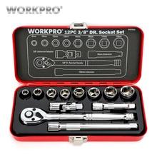 WORKPRO 12PC Home Repair Tool Set 3/8 DR Sokcet Metal Box Ratchet Torque Wrench Screwdriver