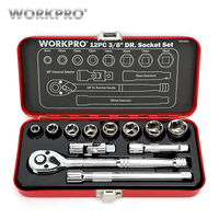 WORKPRO 12PC Home Repair Tool Set 3/8 DR Sokcet Set Metal Box Set Ratchet Torque Wrench Screwdriver