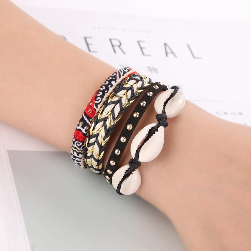 Fashion Brazilian Style Shell Layers Braided Twist Alloy Magnetic Buckle Bracelet For Women Korean Bracelets Bangles