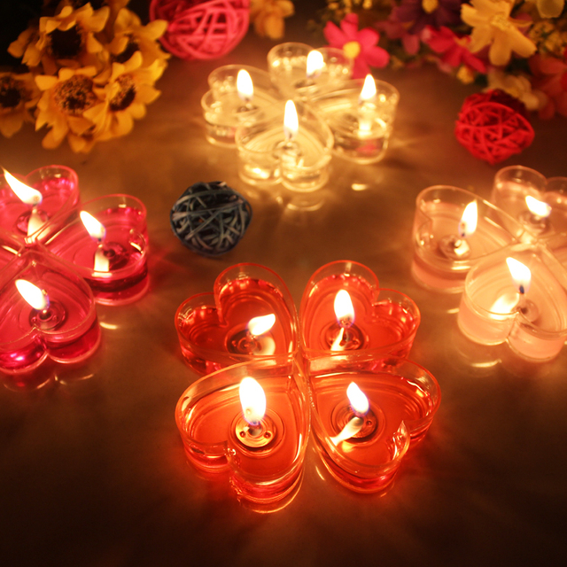 new romantic jelly heart shaped candles wedding valentine home decoration candle smokeless