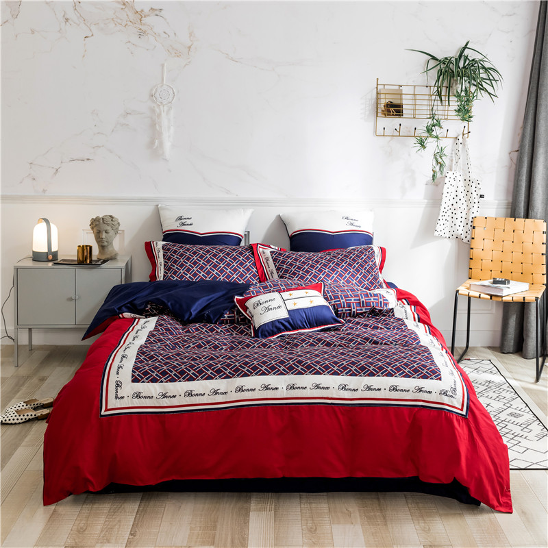 England style plaid Bedding Set queen king size egyptian cotton bed set decorative pillowcase Bed Sheet/linen Duvet Cover setEngland style plaid Bedding Set queen king size egyptian cotton bed set decorative pillowcase Bed Sheet/linen Duvet Cover set
