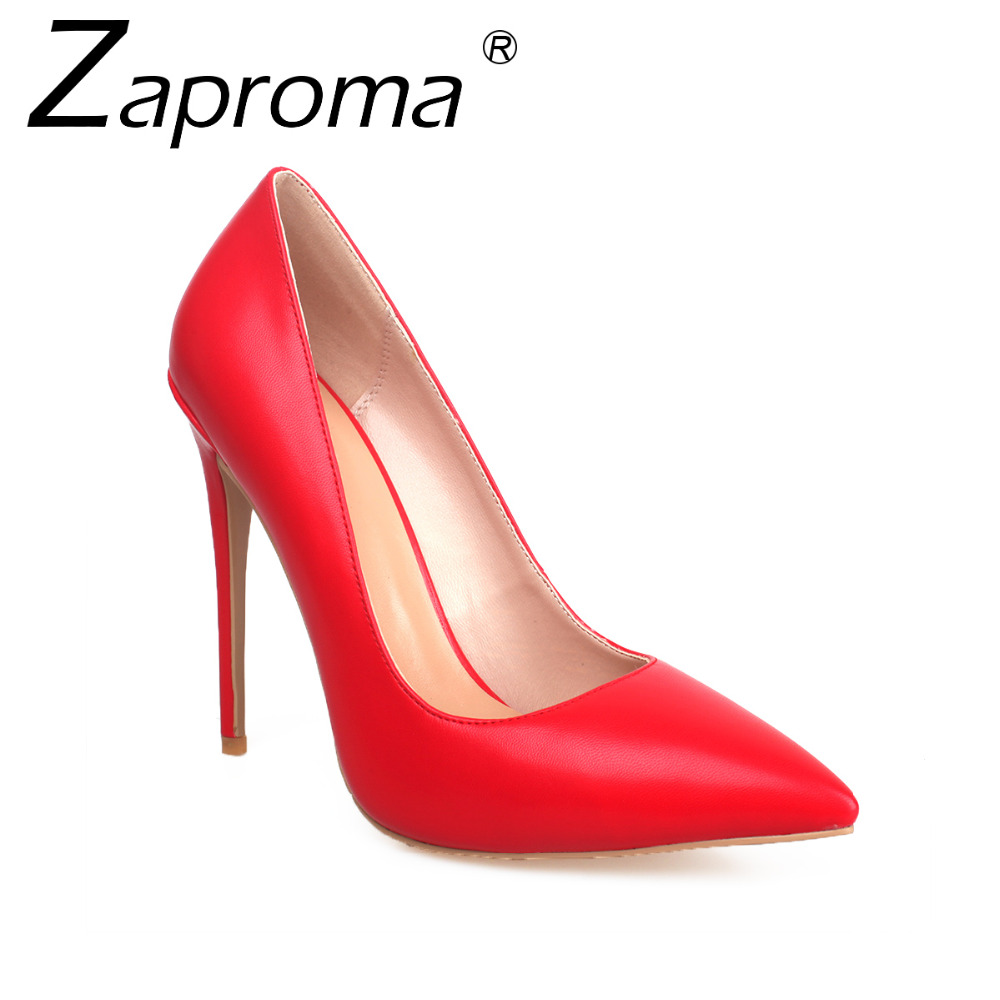 2018 Latest Factory Female Spring Thin Heel Pumps High Heel Point Toe White Yellow Shoes Office PU Stiletto Women Heels Red 12cm trendy thin heel pointed toe women polka dot pump spring slip on high heels black white stiletto 2018 brand fetish factory shoes