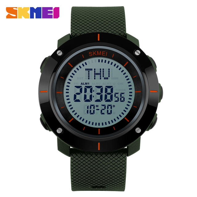 SKMEI Moda Relógios Desportivos Homens Múltipla Tempo Bússola Digital Relógio 3 Alarme 50 M À Prova D' Água Chronograph relógios de Pulso de Choque 1216