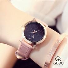 купить GUOU Brand Watch Women Dress Watches reloj mujer Genuine Leather Waterproof Clock Female Quartz Wristwatch Relogio feminino по цене 2368.67 рублей