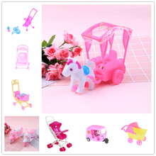 Pink Strollers Bike Car Motorcycle For Doll Car Detachable Shade Furniture Children Toys Assemble Doll Cart for Doll Accessories(China)