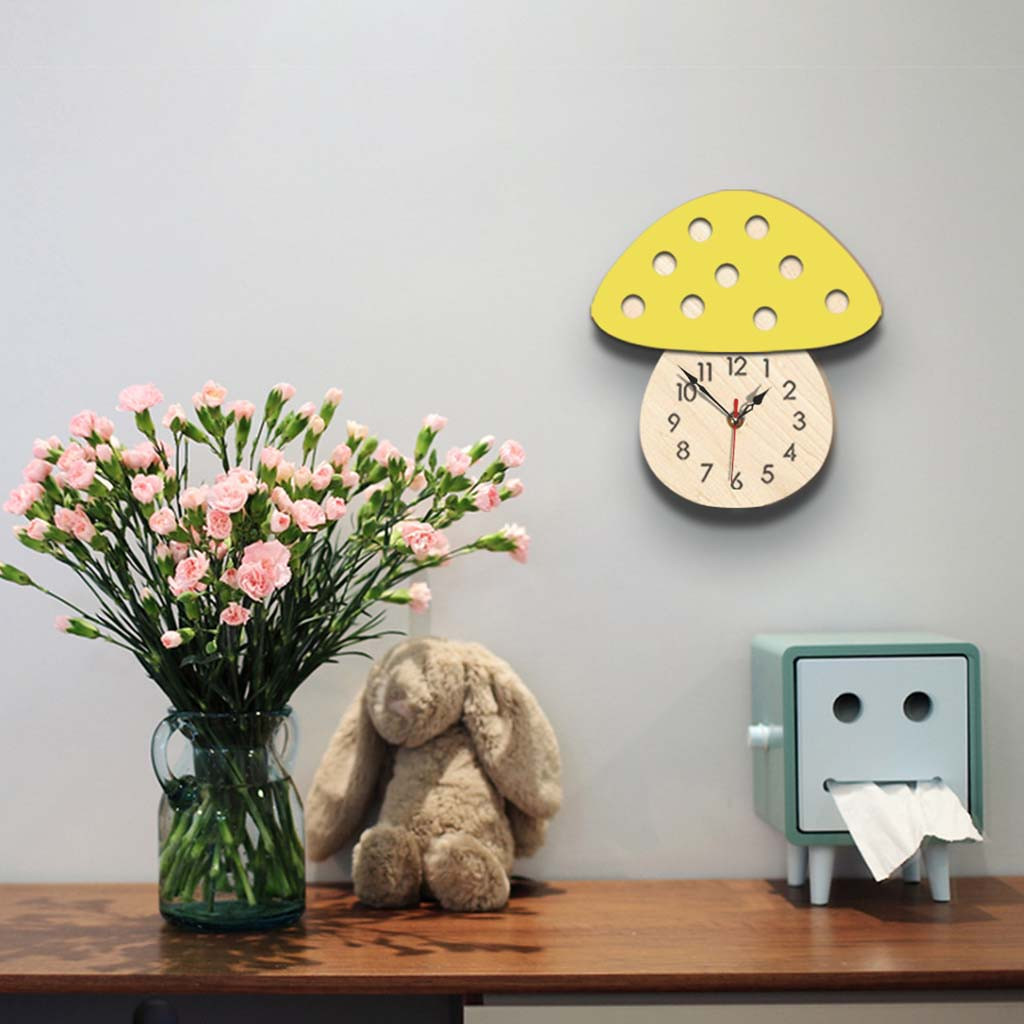 Nordic Style Hedgehog Wall Clock Silent Wooden Clock for Home Living Room Stickers Home Decoration Living Room Quartz NeedleG711