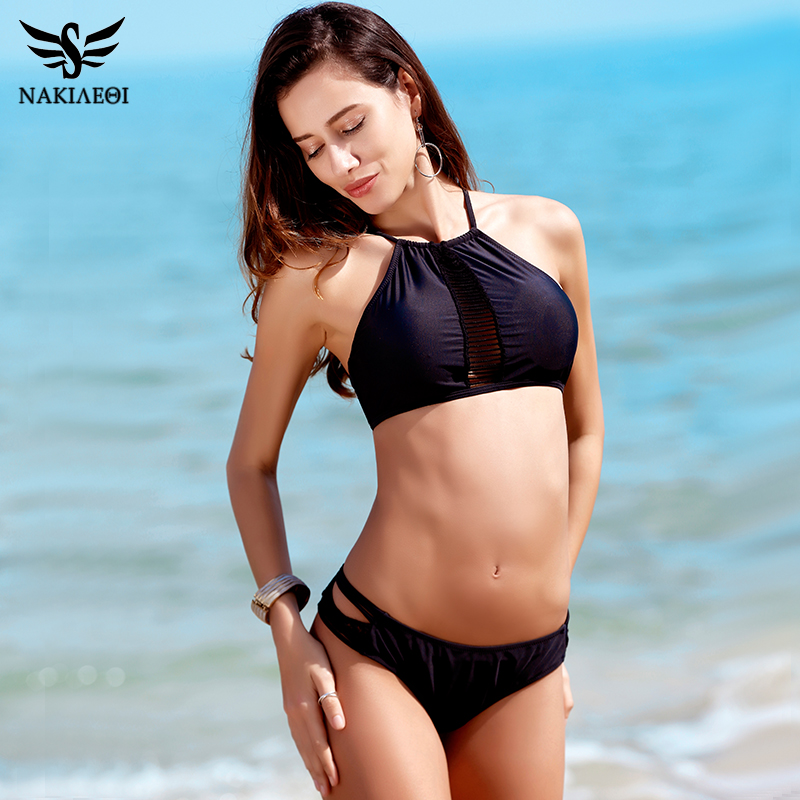 NAKIAEOI Sexy High Neck Bikini Swimwear Women Swimsuit 2018 New Handmade Crochet Brazilian Bikini Set Cut Out Bathing Suit Black