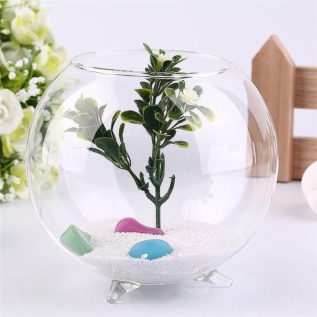 Tripod Support Round Shape Glass Plant Flower Landscape Vase Container Popular New Transparent Hydroponic Vase FishTank Fishbowl