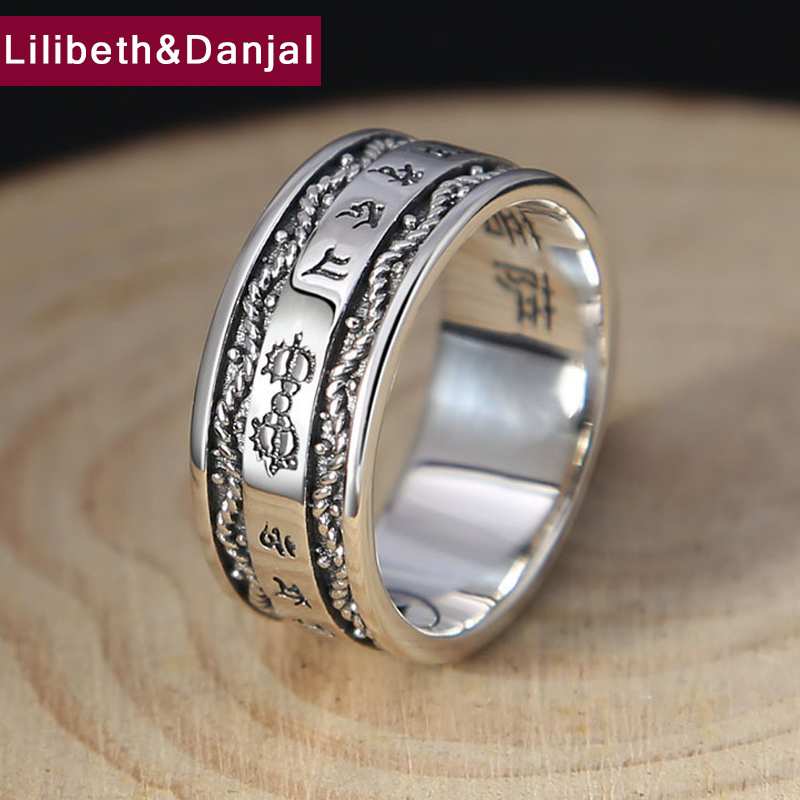 Buddha Heart Sutra Ring 100% Real 925 Sterling Silver Jewelry Lucky Vajra For Men And Women Jewelry  New Lucky Ring FR38
