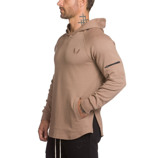 Mens hoodies gyms Fitness Sweatshirt Fashion leisure Pullover Hooded Jacket Tracksuits Brand clothing Slim Fit Sportswear