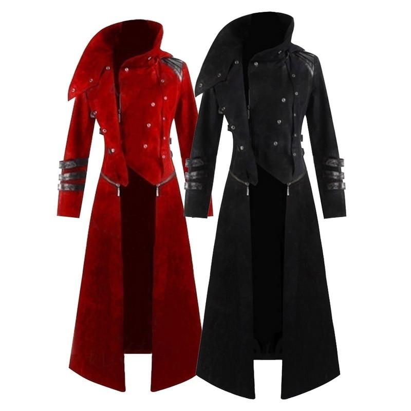 Retro Men Gothic Brocade Jacket Frock Coat Steampunk Victorian Morning Outwear B
