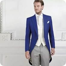 купить Royal Blue Tailcoat Men Suits Long Jacket Morning Party Grey Pants Slim Fit Costume Homme 3 Pieces Terno Masculino Groom Tuxedo по цене 7726.4 рублей