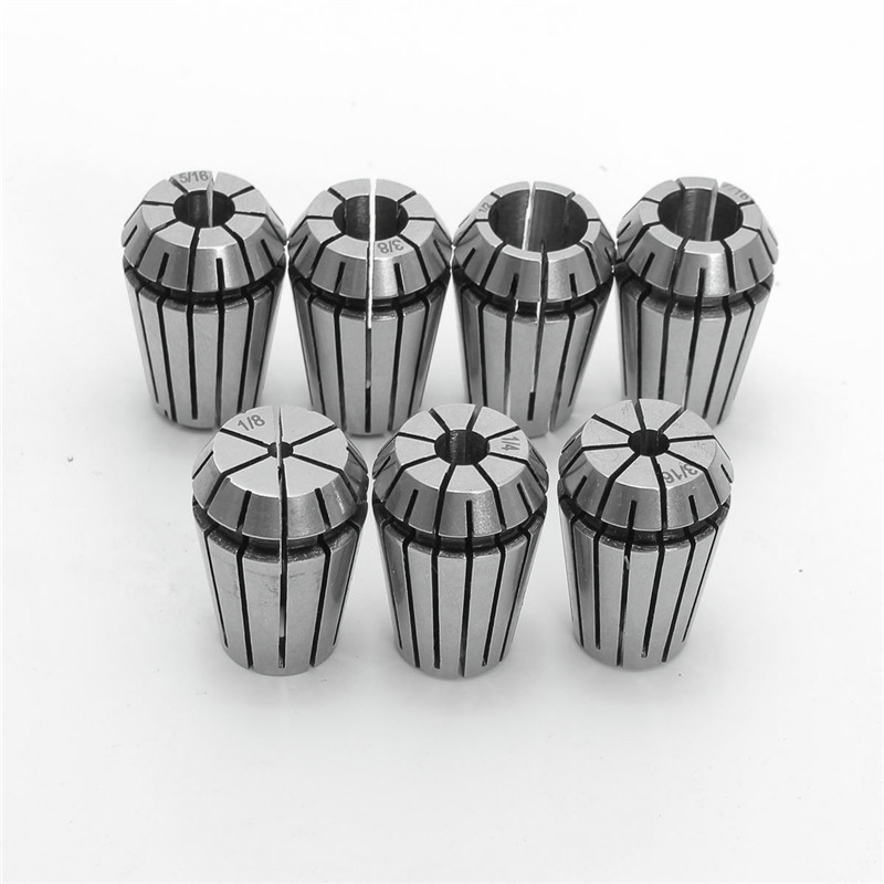 7PCS ER20 1/8- 1/2 Spring Collet Set For CNC Engraving Milling Lathe Tool Durable Quality 7pcs set blade for 12mm 14mm 15mm 16mm hard alloy turning cnc lathe tool kits cutter durable cutting tools higher quality
