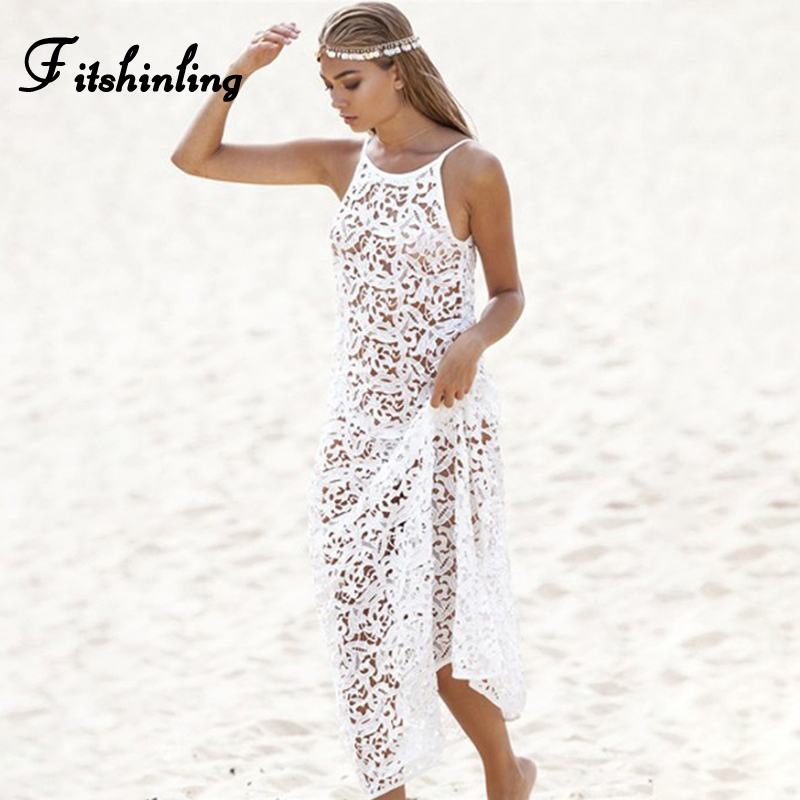Fitshinling Backless Lace Long Dress Beach Wear Spaghetti Strap White Summer Sundresses Women See through Sexy Hot Maxi Dresses