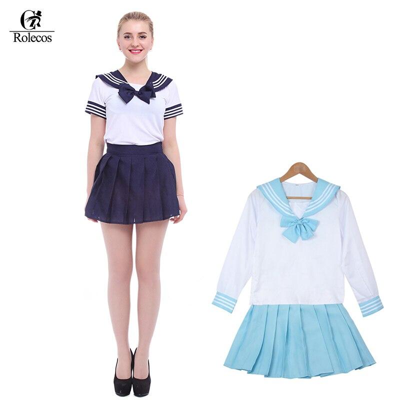 2adc4151b1b Free Shipping 4 Color Dark Blue Light Blue Purple Pink Fashionable Girls  Korean Japanese School Uniform Sailor Cosplay Costume