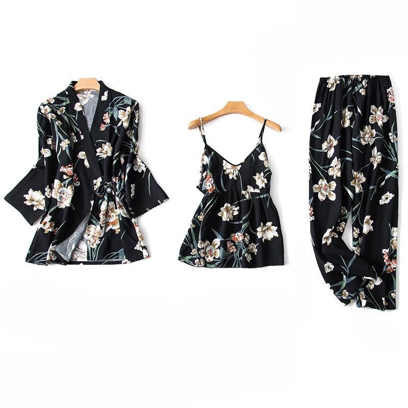 Sexy Female Cotton 3PCS Nightwear Casual Home Clothes Spring Summer Pajamas Pyjama Set Print Floral Sleepwear Casual Pijamas