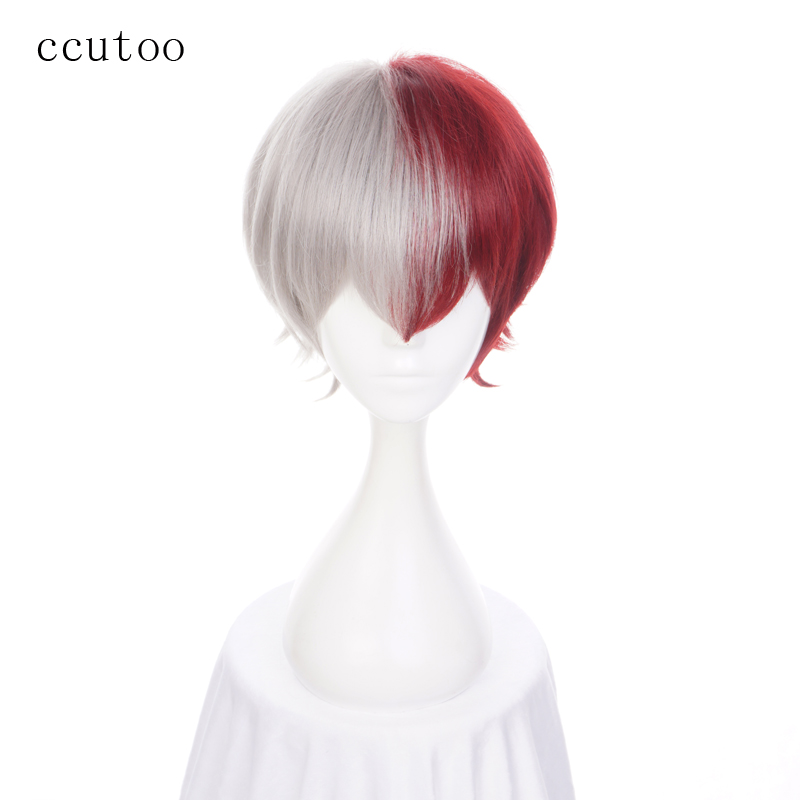 Ccutoo 12 Men S Grey Red Mix Short Fluffy Layered Synthetic Hair Cosplay Full Wigs Halloween