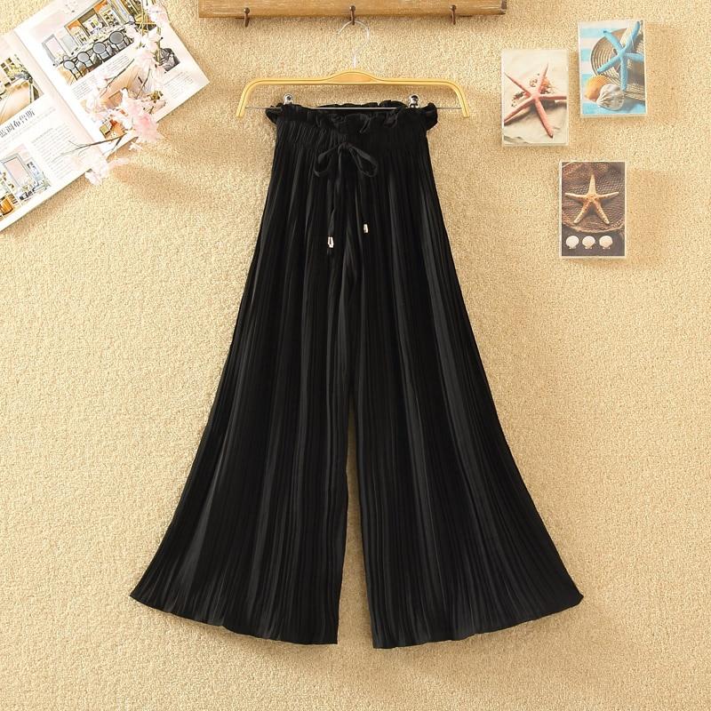 Ruffle Trousers for Women High Waist Wide Leg Chiffon Loose Pants Female Casual Large Sizes Clothes Korean Autumn 8