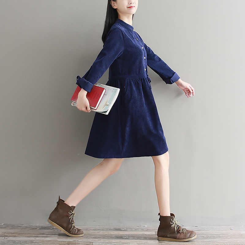 928287e4ff4b ... Autumn 2018 Vintage Green Dress Women Mori Girl Corduroy Casual Button  Shirt Female Bandage Long Sleeve ...