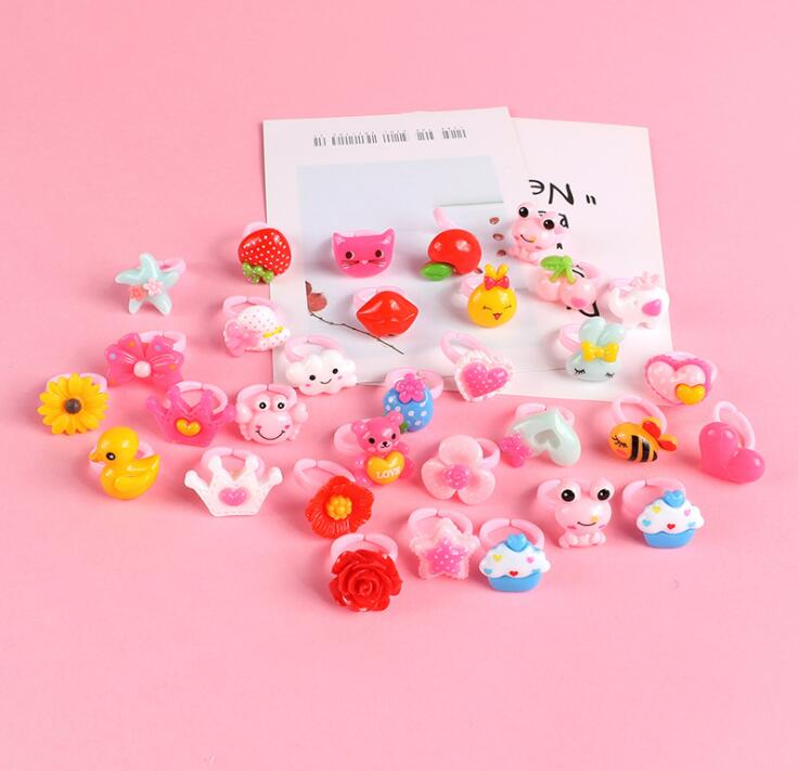 12pcs Ring For Children Jewelry Fashion Colored Multicolor Ring Cute Girls Gifts  Lovely Fruit Scrub Animal Princess Suit Kinds 2