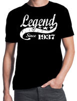 80th Birthday Legend Since 1937 80 Years Old Gift Idea Dad Present Black T Shirt Printed