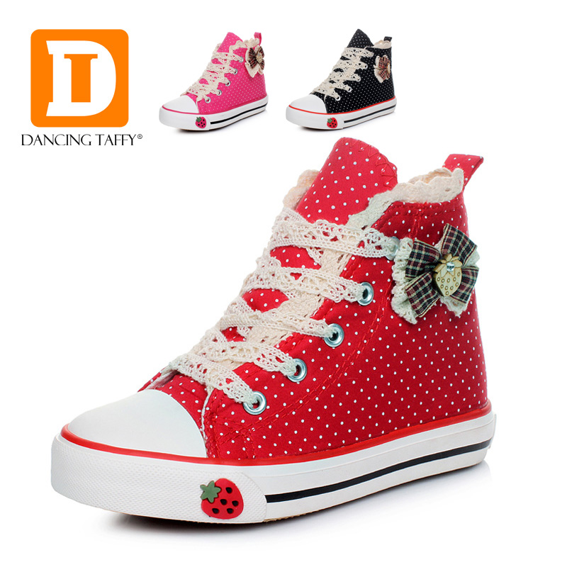 Autumn Fashion Children Shoes New 2016 Girls Sneakers Lace Mesh Princess Canvas Zip Kids Shoes High Girls Shoes Size25-36