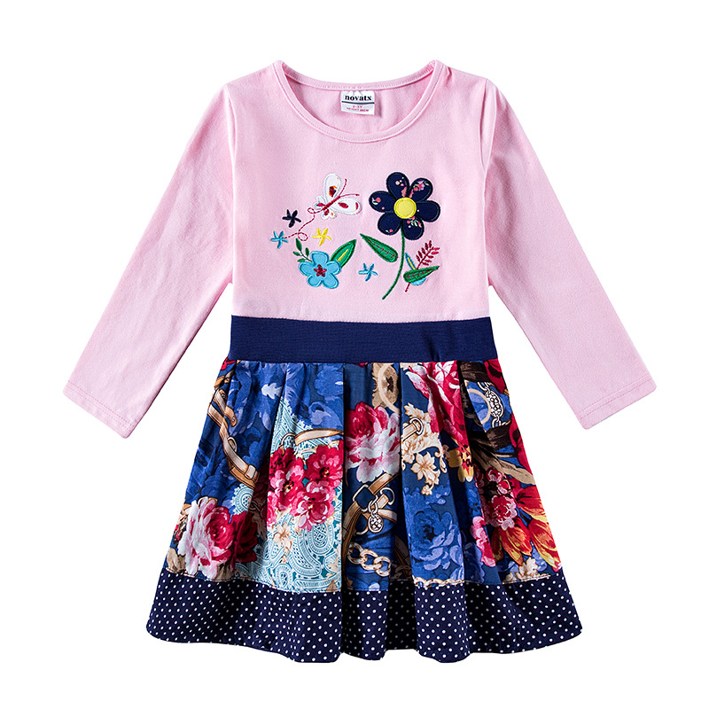 Baby Girl Dress Spring Autumn Embroidered Floral Cotton Long Sleeved Tutu Dress Children Cute Princess Dress Kids Casual Dresses children s new spring and autumn cotton stripes round neck suit thin section long sleeved jacket girl dress baby girls dress
